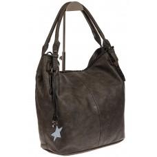 На фото 1 - Мягкая женская сумка из искусственной кожи серого цвета