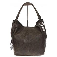 На фото 2 - Мягкая женская сумка из искусственной кожи серого цвета