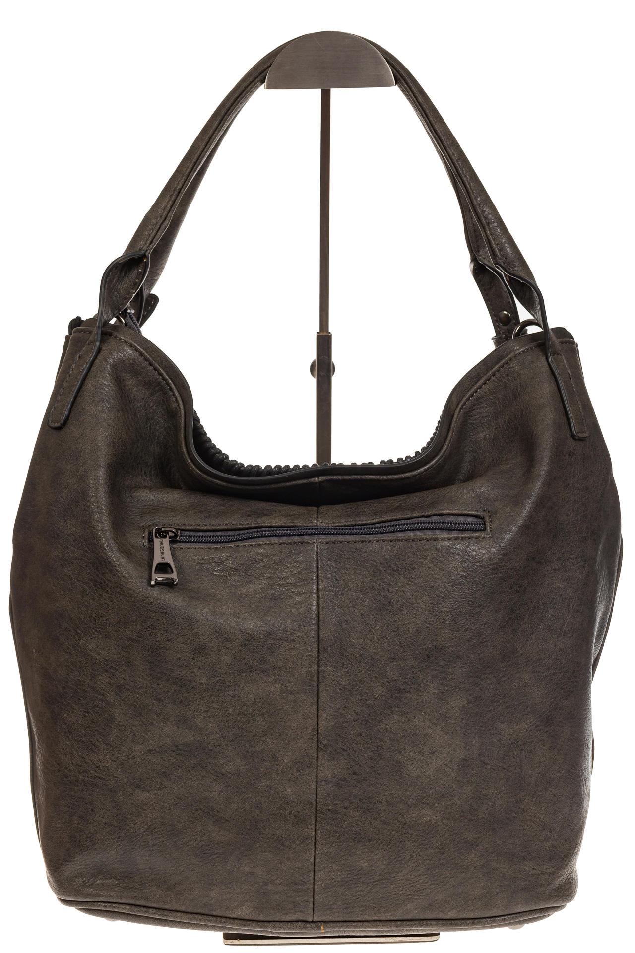 На фото 3 - Мягкая женская сумка из искусственной кожи серого цвета
