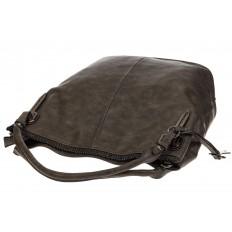 На фото 4 - Мягкая женская сумка из искусственной кожи серого цвета