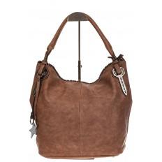 На фото 2 - Мягкая женская сумка из искусственной кожи пудрового цвета