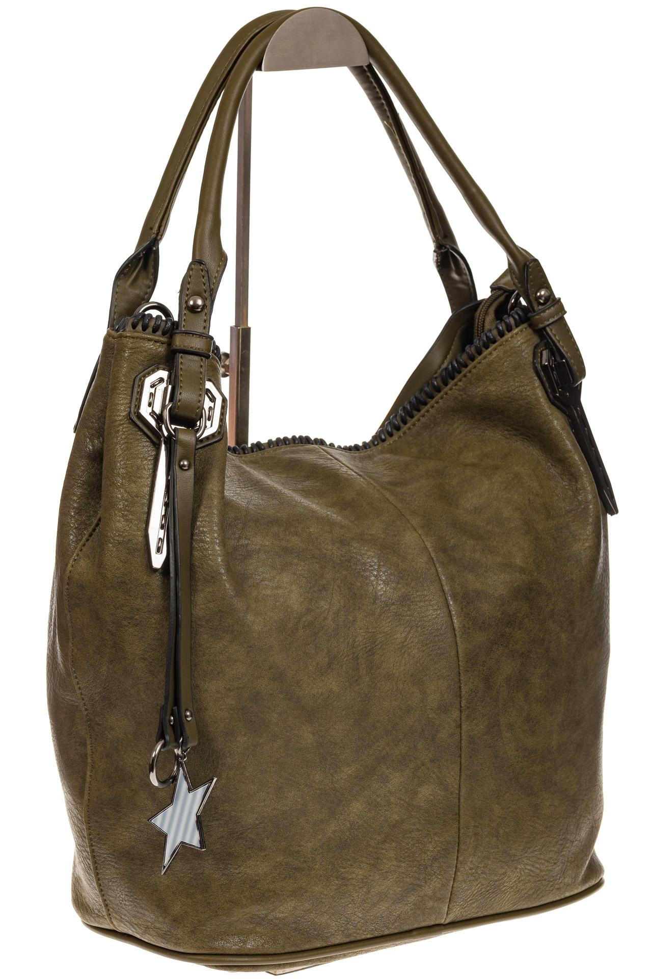 На фото 1 - Мягкая женская сумка из искусственной кожи зеленого цвета