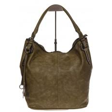 На фото 2 - Мягкая женская сумка из искусственной кожи зеленого цвета