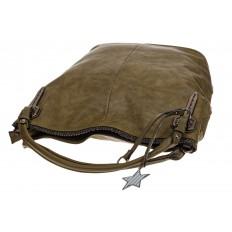 На фото 4 - Мягкая женская сумка из искусственной кожи зеленого цвета