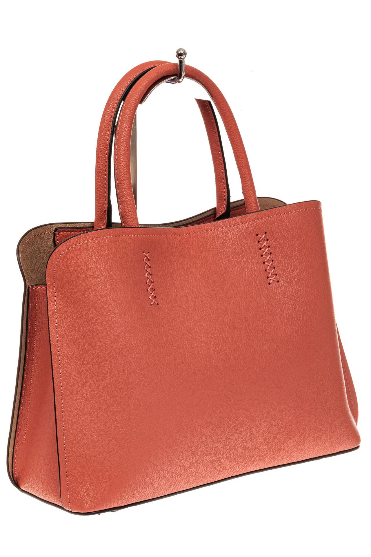 На фото 1 - Строгая женская сумка из натуральной кожи, цвет коралл