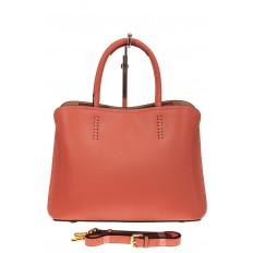 На фото 2 - Строгая женская сумка из натуральной кожи, цвет коралл