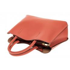 На фото 3 - Строгая женская сумка из натуральной кожи, цвет коралл