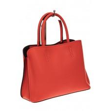 На фото 1 - Строгая стильная кожаная сумка, красная