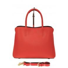 На фото 2 - Строгая стильная кожаная сумка, красная
