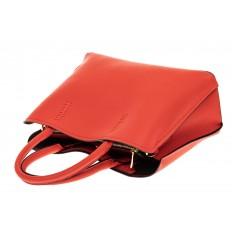 На фото 3 - Строгая стильная кожаная сумка, красная