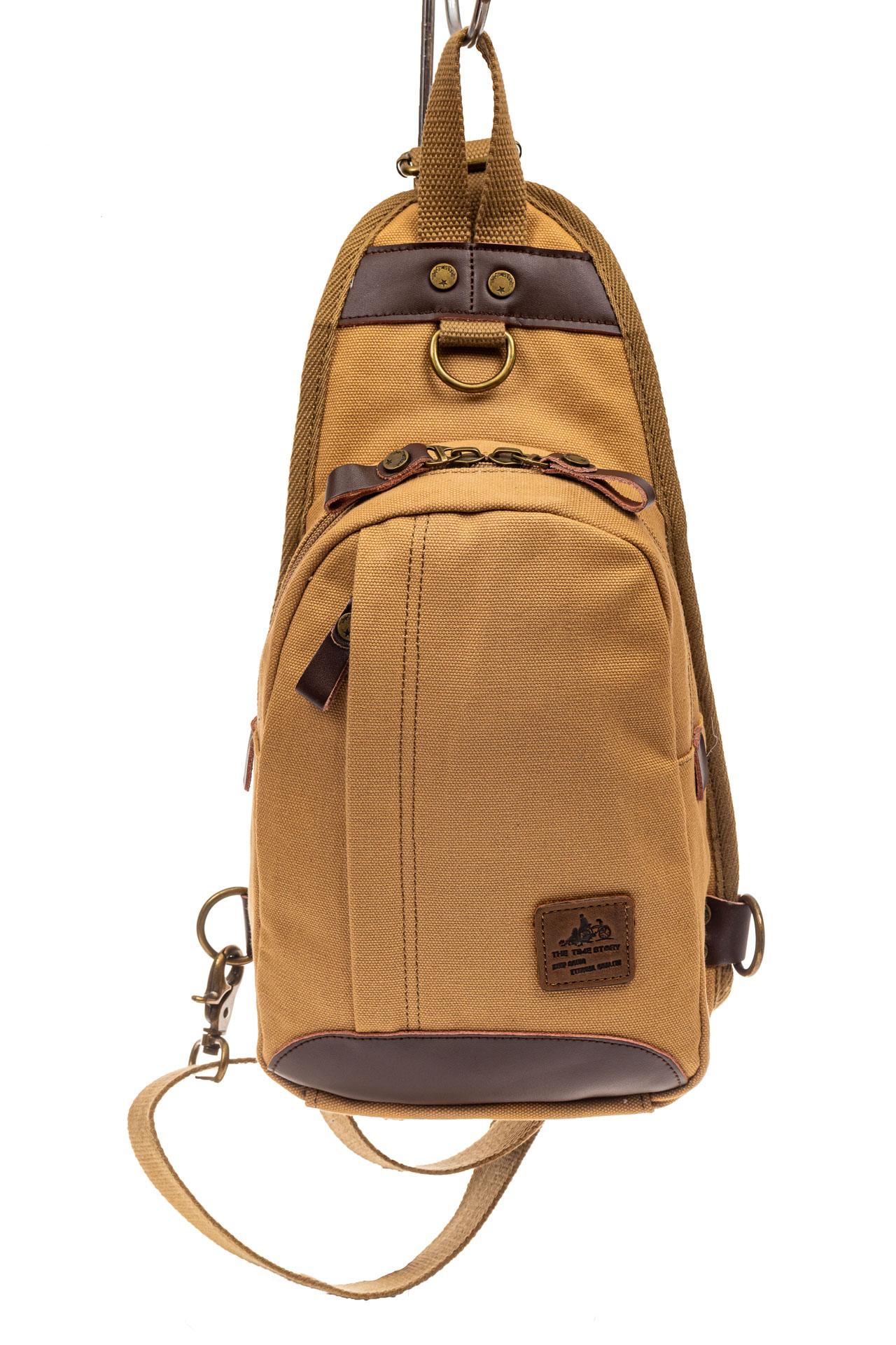На фото 2 - Текстильный слинг-рюкзак для мужчин, цвет песочный