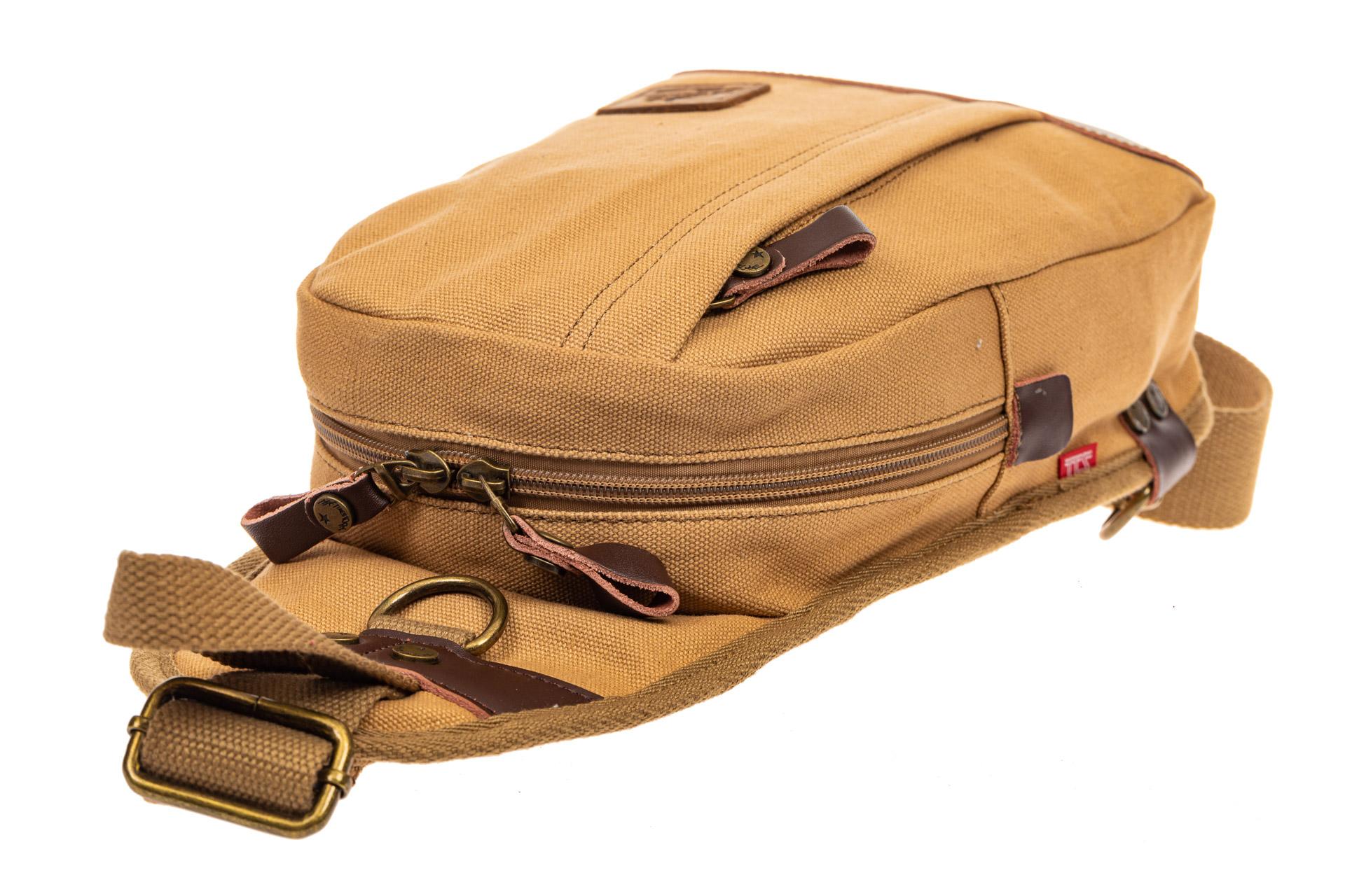 На фото 4 - Текстильный слинг-рюкзак для мужчин, цвет песочный