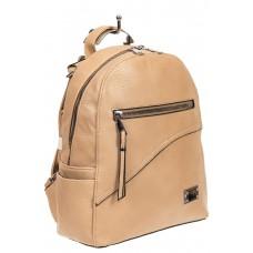 На фото 1 - Бежевый женский рюкзак из мягкой экокожи