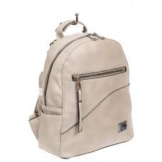 На фото 1 - Светло-серый женский рюкзак из мягкой экокожи