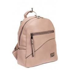 На фото 1 - Нежно-розовый женский рюкзак из мягкой экокожи