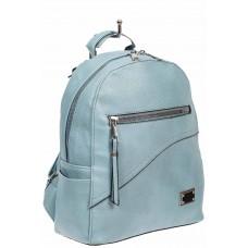На фото 1 - Голубой женский рюкзак из мягкой экокожи