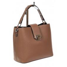 На фото 1 - Небольшая сумка шоппер из фактурной натуральной кожи, бежевая