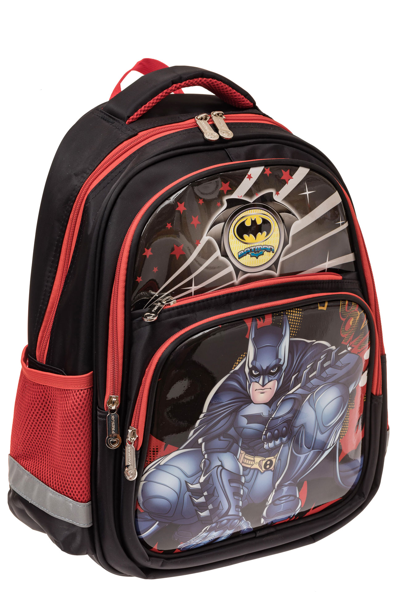 На фото 1 - Детский рюкзак для школы с принтом, цвет красный