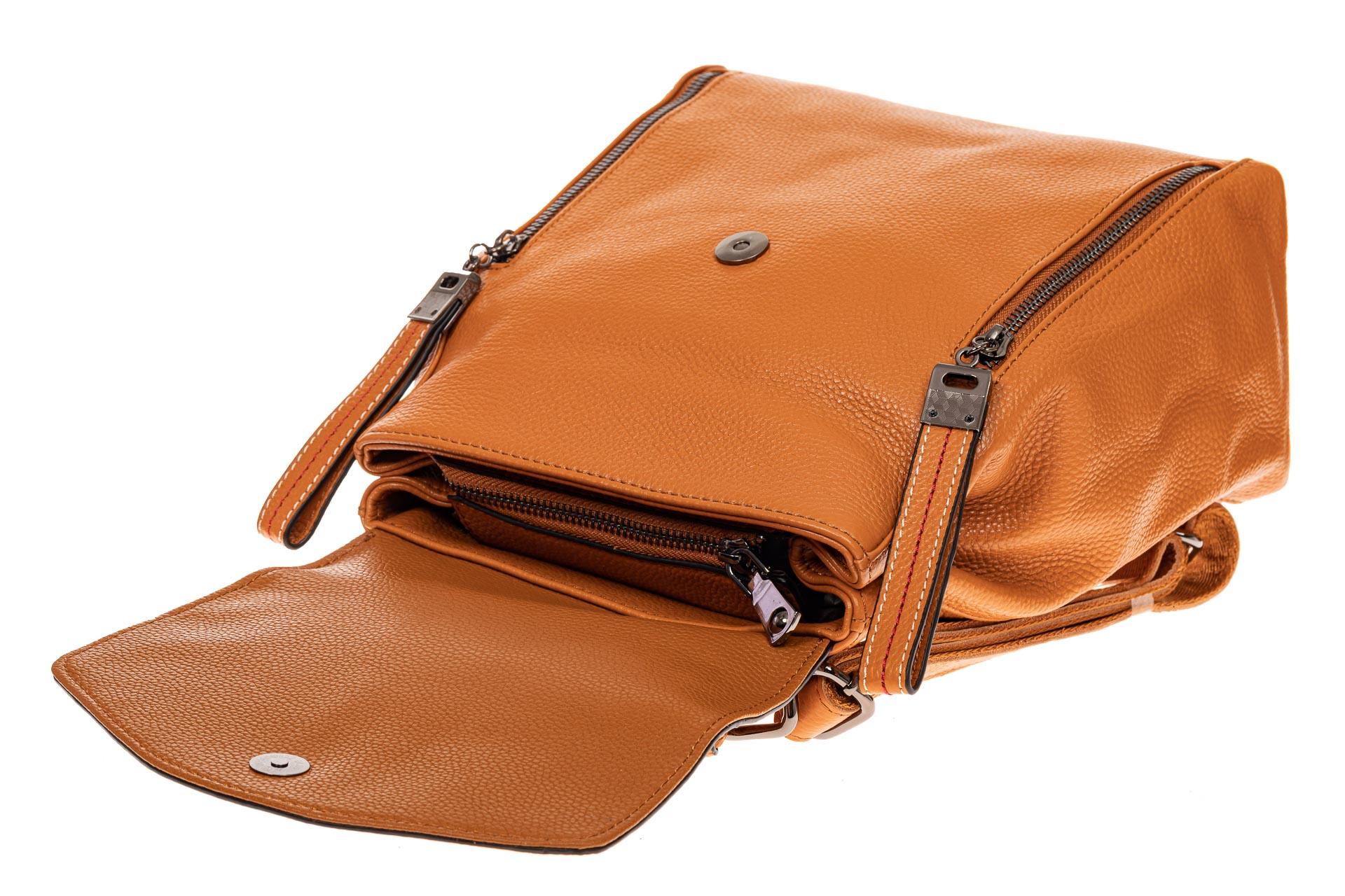 На фото 3 - Рюкзак-трансформер из натуральной кожи, цвет рыжий