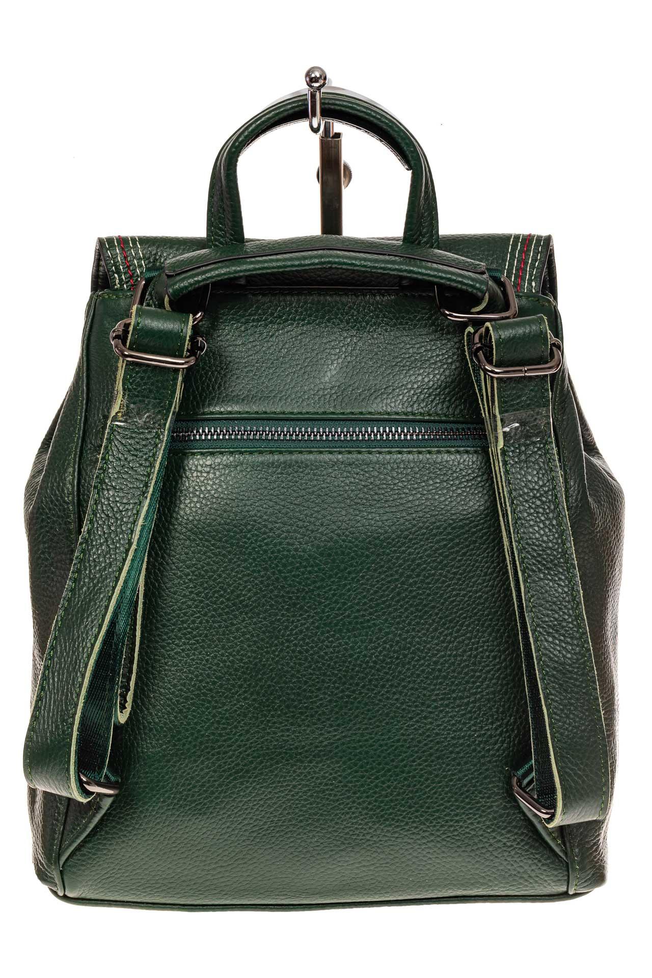 На фото 2 - Рюкзак-трансформер из натуральной кожи, цвет зеленый