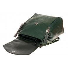 На фото 3 - Рюкзак-трансформер из натуральной кожи, цвет зеленый