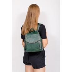 На фото 4 - Рюкзак-трансформер из натуральной кожи, цвет зеленый