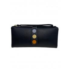 На фото 1 - Кошелёк-клатч из искусственной кожи с разноцветными кнопками, цвет чёрный