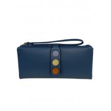 На фото 1 - Кошелёк-клатч из искусственной кожи с разноцветными кнопками, цвет голубой