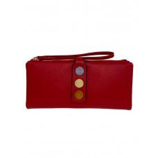 На фото 1 - Кошелёк-клатч из искусственной кожи с разноцветными кнопками, цвет красный