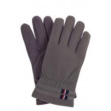 На фото 1 - Утепленные перчатки мужские из велюра, цвет серый