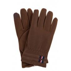 На фото 1 - Утепленные перчатки мужские из велюра, цвет коричневый
