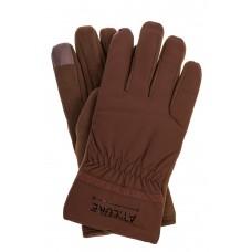 На фото 1 - Утепленные мужские перчатки с надписью, цвет коричневый