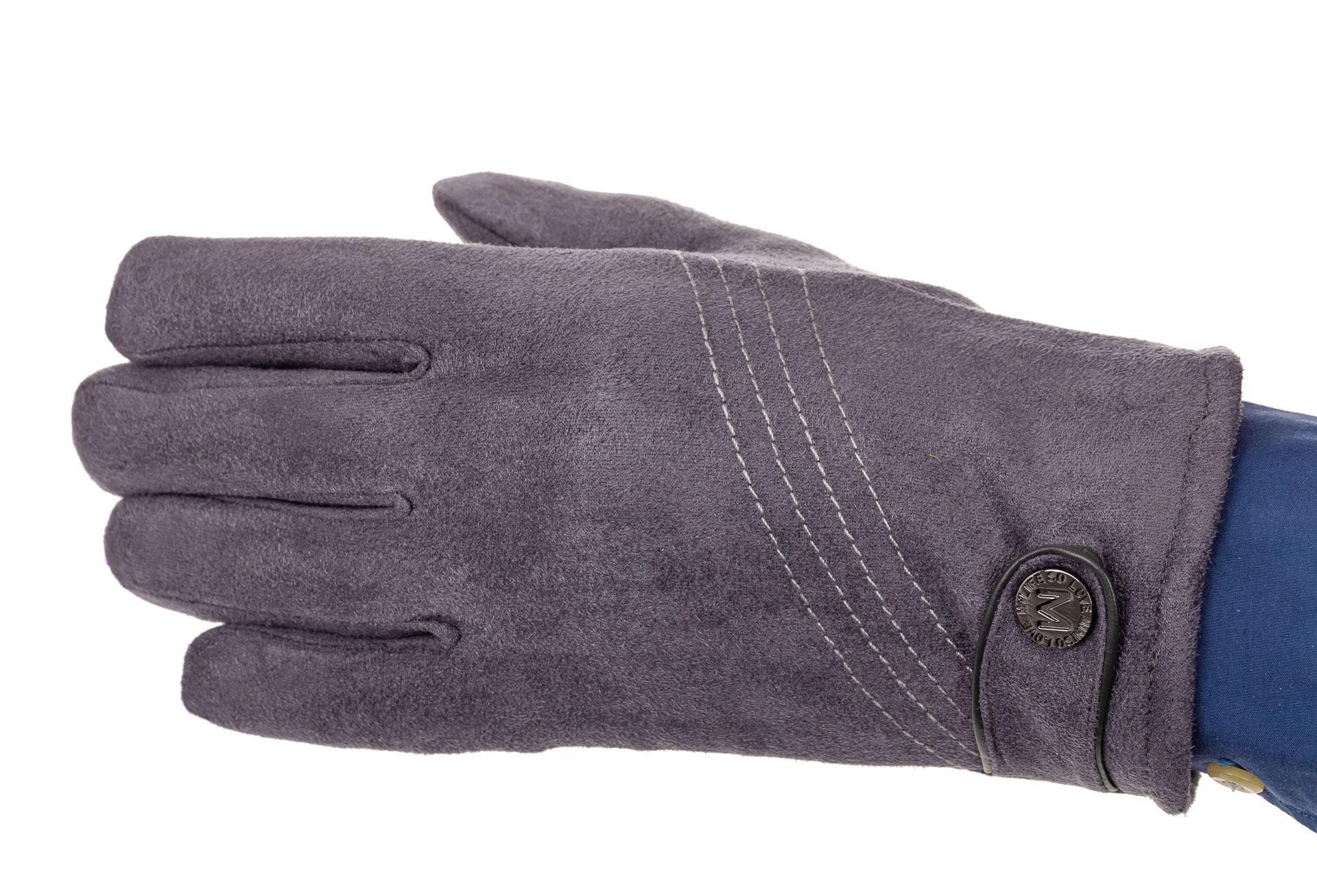 На фото 1 - Классические перчатки мужские из велюра, цвет серо-синий