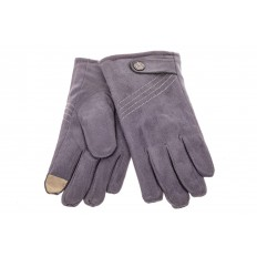 На фото 2 - Классические перчатки мужские из велюра, цвет серо-синий
