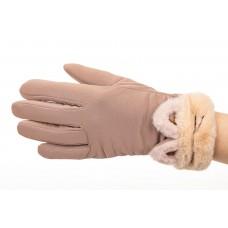 На фото 1 - Удлиненные перчатки женские для зимы, цвет бежевый