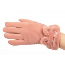 На фото 1 - Удлиненные перчатки женские для зимы, цвет розовый
