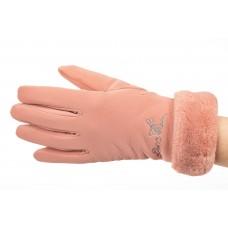 На фото 1 - Теплые перчатки женские с эффектом патины, цвет розовый
