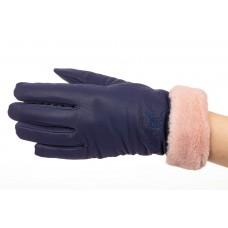 На фото 1 - Теплые перчатки женские с эффектом патины, цвет синий