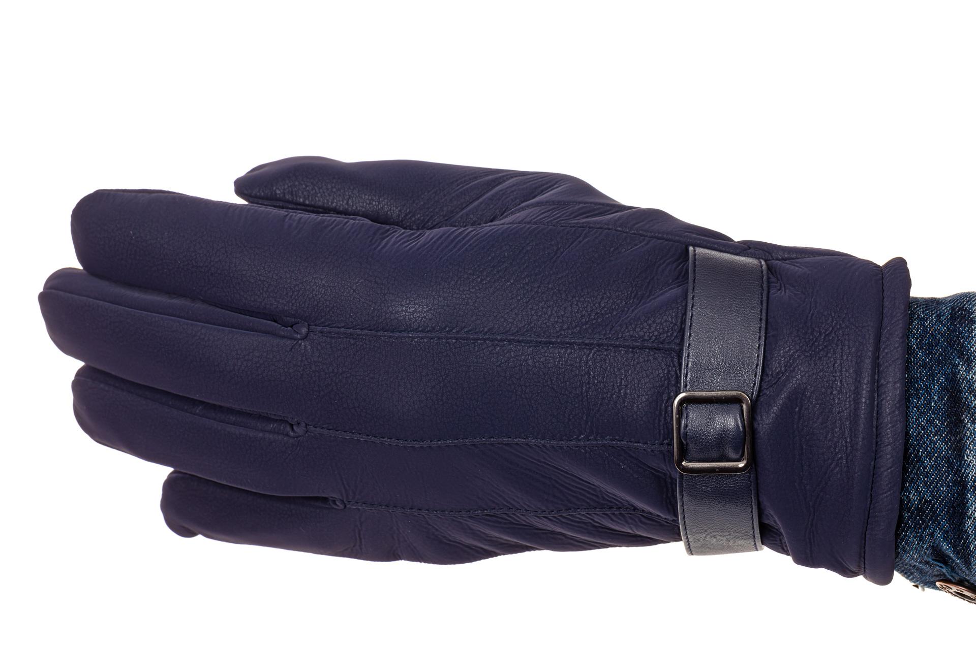 На фото 1 - Перчатки под кожу для мужчин, цвет синий