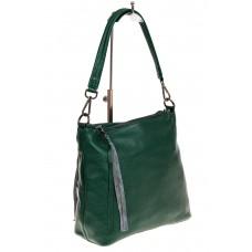 На фото 1 - Женская сумка из натуральной кожи, цвет зел...