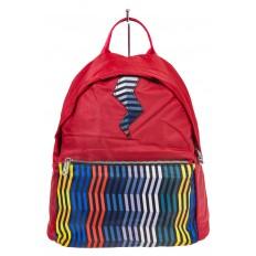 На фото 2 - Молодежный рюкзак из текстиля, цвет – красный