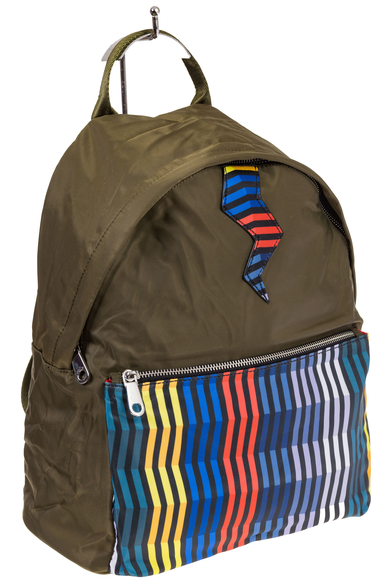 На фото молодежный рюкзак, цвет – защитный, материал – текстиль, купить оптом в магазине Грета