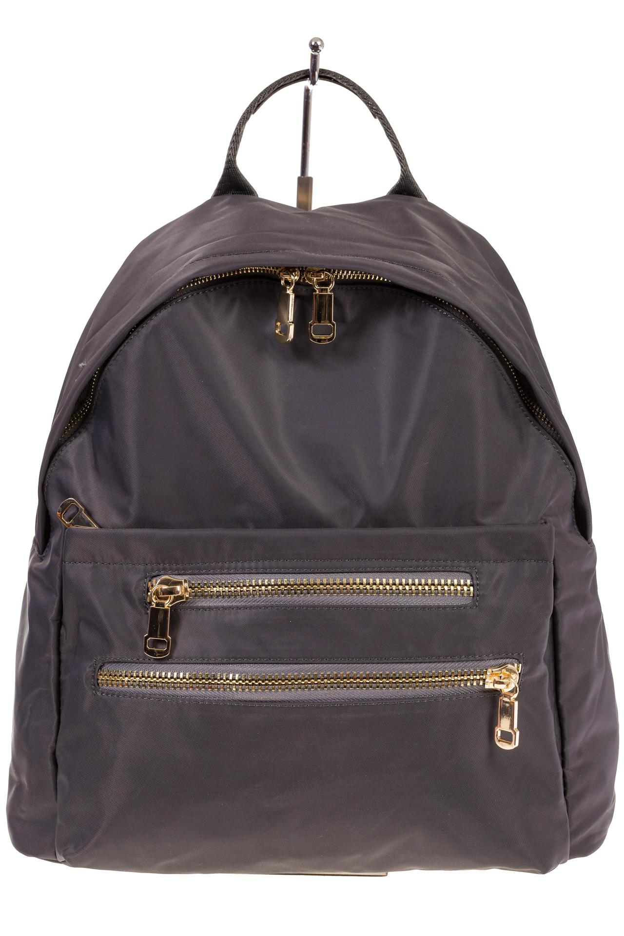 На фото 2 - Аккуратный женский рюкзачок из текстиля, цвет – серый