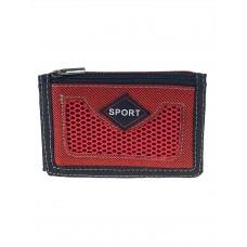 На фото 1 - Мужской джинсовый кошелёк, цвет красный