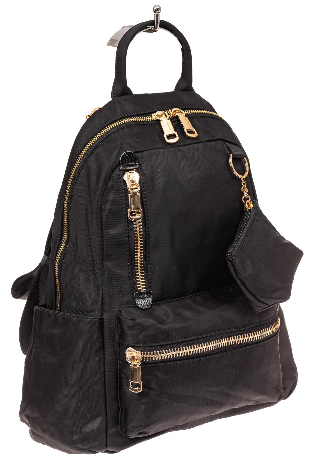 На фото 1 - Женский городской рюкзак из гладкого текстиля, цвет черный
