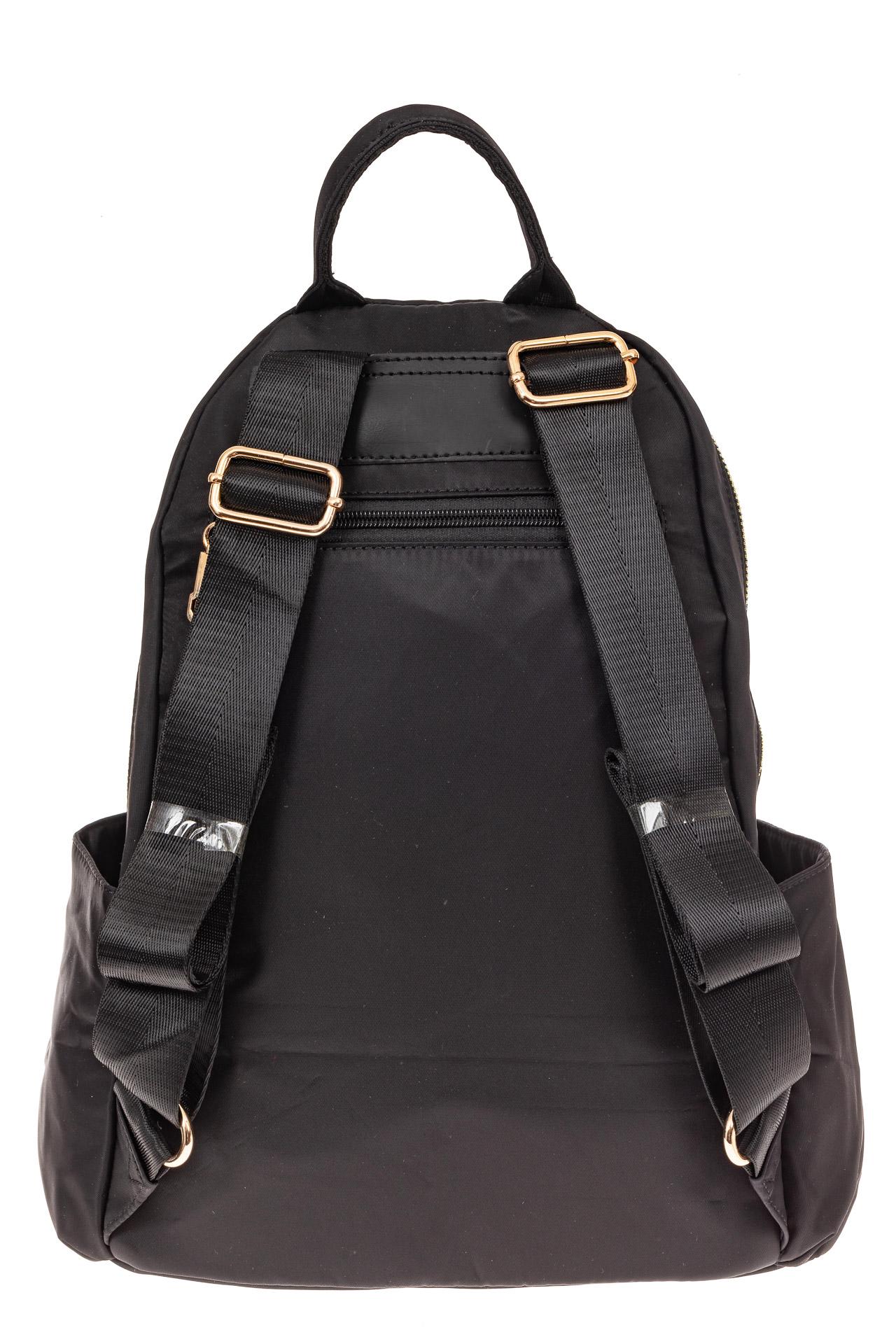 На фото 2 - Женский городской рюкзак из гладкого текстиля, цвет черный