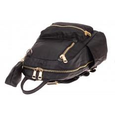 На фото 3 - Женский городской рюкзак из гладкого текстиля, цвет черный