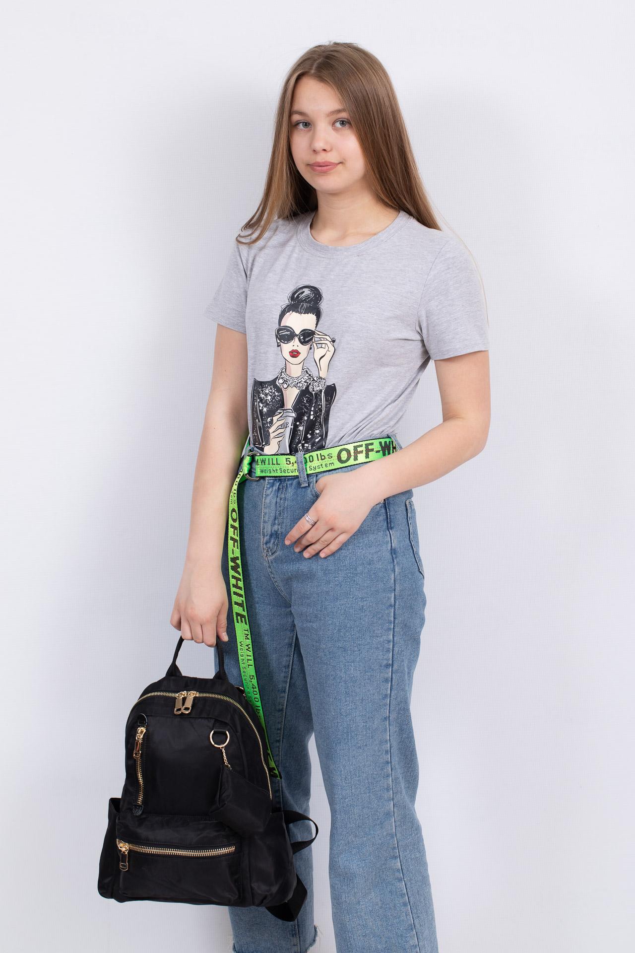 На фото 4 - Женский городской рюкзак из гладкого текстиля, цвет черный