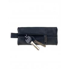 На фото 1 - Кожаная ключница, цвет чёрный