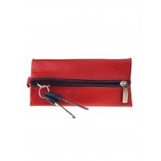 На фото 1 - Кожаная ключница, цвет красный